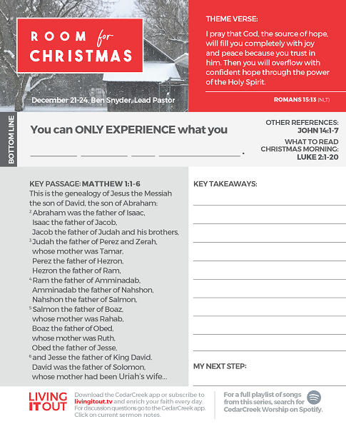 Room For Christmas – Resources – Living It Out